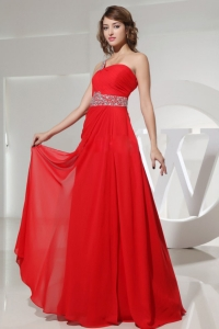 Beaded One Shoulder Red Prom Homecoming Dresses Ruch