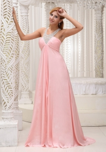 Beaded Ruch Baby Pink Prom Celebrity Dress Military Ball
