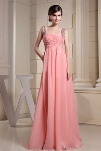 Beaded Straps Prom Party Dress Ruching Watermelon Pink