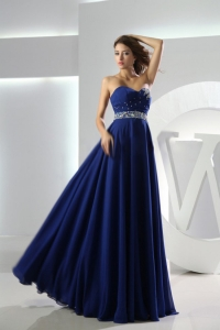 Beaded Royal Blue Prom Graduation Dress Sweetheart