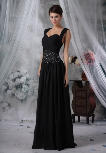 Beaded Black Prom Evening Dresses with Straps Ruch