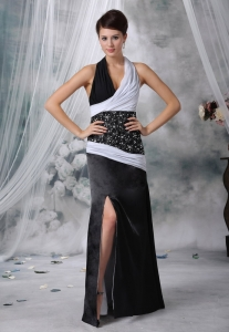Beaded White and Black Prom Evening Dress Ruch Slit