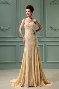 Beading Mermaid Champagne Prom Dress Sweetheart Train