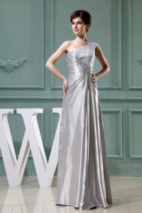 Beading One Shoulder Grey Prom Evening Dresses Taffeta