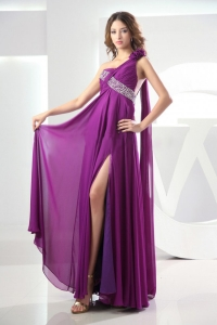 Beaded Prom Graduation Dress Purple One Shoulder Slit