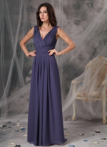 V-neck Purple Ruched Formal Evening Bridesmaid Dresses