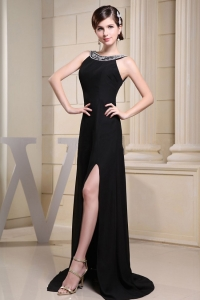 Black Bateau Beaded High Slit Prom Evening Dresses