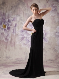 Brush Train Ruch Evening Pageant Dress Black Chiffon