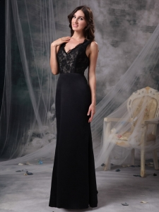 Lace V-neck Evening Celebrity Dresses Black Satin Column