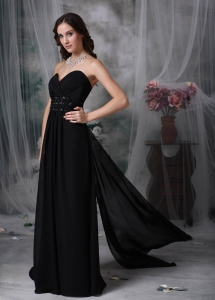 Black Watteau Train Beading Evening Pageant Dresses