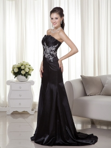 Appliques Mermaid Evening Celebrity Dress Black Train