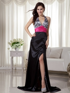 Zebra Halter Evening Celebrity Dress Black and Hot Pink