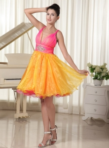 Colorful Prom Cocktail Dresses Ruch Straps Beading