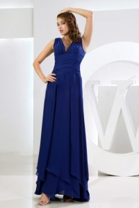 V-neck Royal Blue Bridesmaid Dresses Ruched Chiffon
