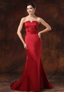 Mermaid Red Celebrity Pageant Dresses Beaded Train