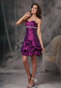 Dark Purple Beading Cocktail Holiday Dresses Taffeta