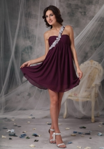 Appliques Dark Purple One Shoulder Prom Cocktail Dress