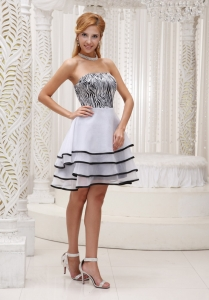 Zebra Dama Dress for Quinceanera Tiered Strapless Organza