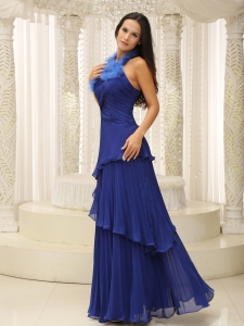 Feather Halter Pleated Prom Celebrity Dresses Royal Blue