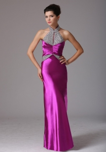Halter Beaded Prom Evening Dresses Fuchsia Ruching