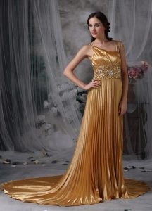 Gold Pleated Straps Evening Pageant Dress Beading Train