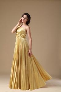 Pleat Gold One Shoulder Hand Flowers Prom Evening Dress