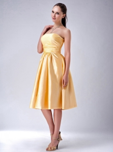 Bow Dama Dresses for Quinceanera Gold Ruching Short
