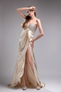 Champagne Beading Celebrity Pageant Dresses High Slit