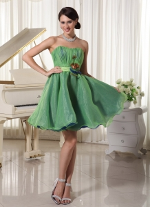 Handmade Flower Belt Cocktail Homecoming Dresses Green