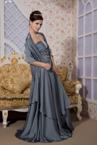 Beading Ruch Prom Evening Dresses Grey Brush Train