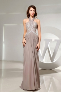 Halter Beading Grey Chiffon Prom Evening Dress Ruch