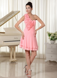 Hand Flowers Shoulder Cocktail Homecoming Dress Watermelon
