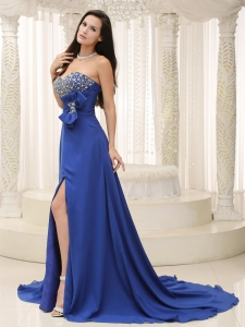 Beaded Bowknot Peacock Blue Prom Evening Dress Slit