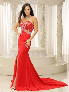 High Slit Appliques Red Evening Celebrity Dresses