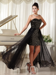 High-low Celebrity Pageant Dresses Black Special Fabric