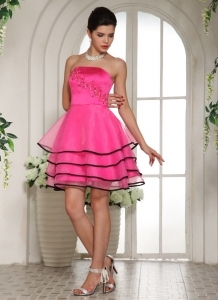 Hot Pink Appliques Quinceanera Damas Dresses Layers