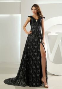 Lace V-neck Celebrity Prom Dress Black Brush High Slit