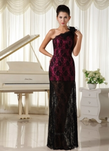 Lace Hand Flowers Celebrity Evening Dress One Shoulder