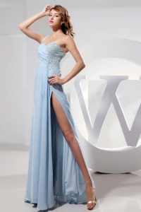 Beaded Light Blue One Shoulder High Slit Prom Dress
