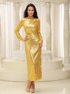 Paillette Long Sleeves Gold Bateau Prom Celebrity Dress