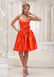 Orange Red Dama Dresses for Quinceanera Beaded Bowknot