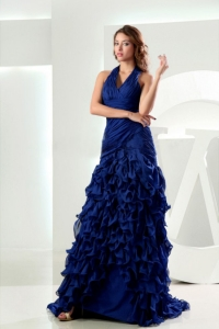 Mermaid Halter Ruffles Royal Blue Prom Graduation Dress