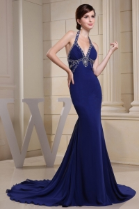 Mermaid Halter Beaded Prom Evening Dress Royal Blue