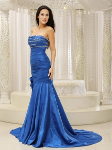 Mermaid Beaded Flowers Royal Blue Evening Pageant Dress