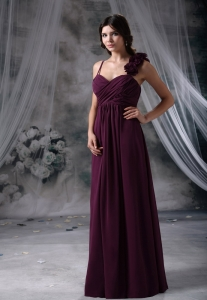 Flowers Straps Dark Purple Ruched Prom Evening Dresses