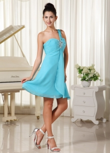 One Shoulder Beaded Prom Cocktail Dress Aqua Blue