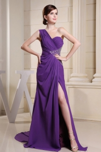 One Shoulder Beaded Prom Homecoming Dress Purple Slit