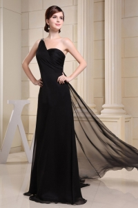 One Shoulder Ruched Black Evening Prom Dress Brush Train