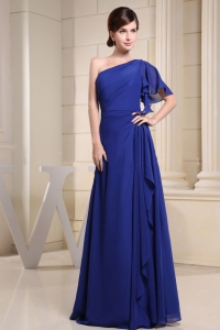 One Shoulder Short Sleeve Royal Blue Prom Party Dress