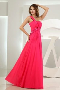 One Shoulder Coral Red Prom Homecoming Dress Beaded